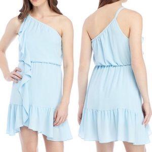 NWOT Kaari Blue One Shoulder Ruffle Dress Petite